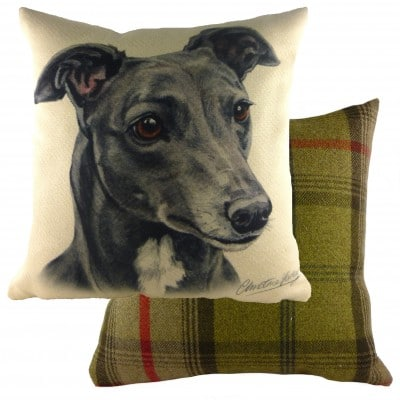 DPA208 - 43cm Ke Waggydogz Grey Greyhound Cushion