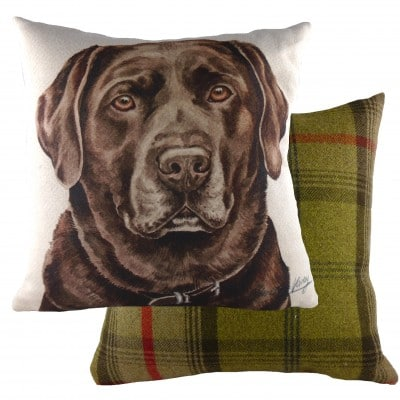 DPA268 - 43cm Ke Waggydogz Chocolate Labrador Cushion