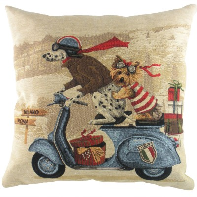 LC212 - 18' Scooter Dogs Blue Cushion