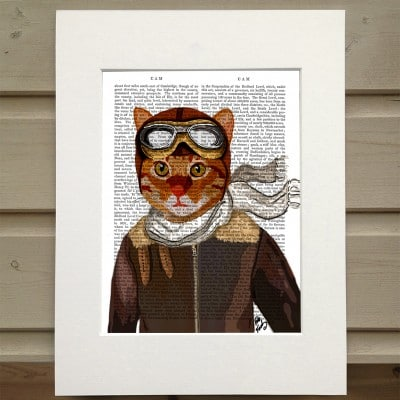 Fab Funky cat in flying jacket antiquarian print