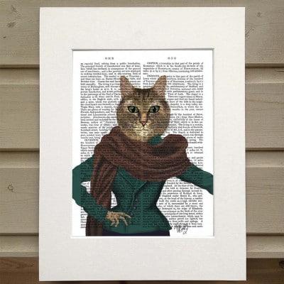 Fab Funky fashionista cat antiquarian print