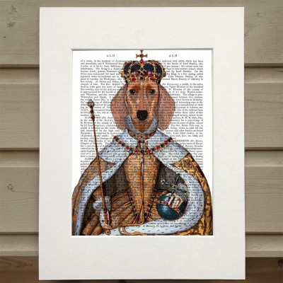 Fab Funky Dachshund Queen antiquarian book print
