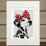 Fab Funky Dalmation with a red bow antiquarian book print
