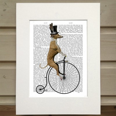Fab Funky bicycling Greyhound antiquarian book print