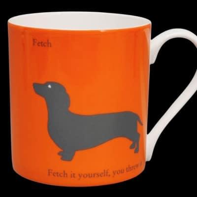 Silhouette Dachshund large mug orange