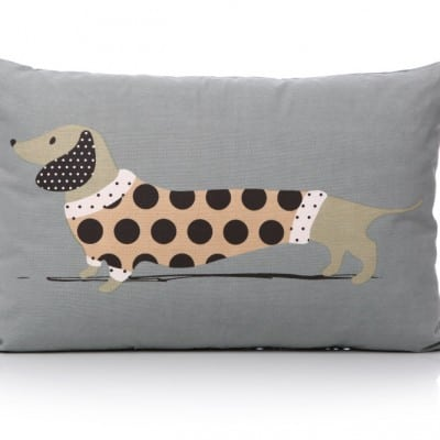 Lisa Buckridge Hot Dog cushion pink and grey
