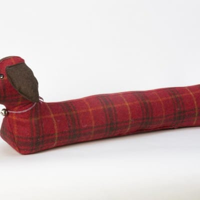 Hannah Williamson sausage dog draught excluder festive punch