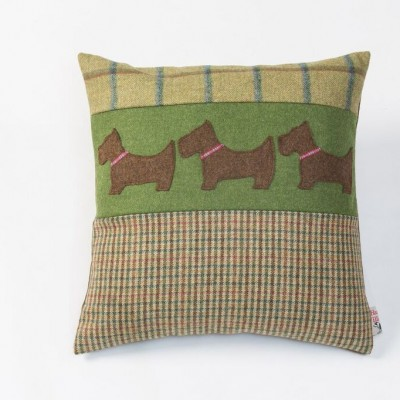 Hannah Williamson Scottie dog square cushion country green