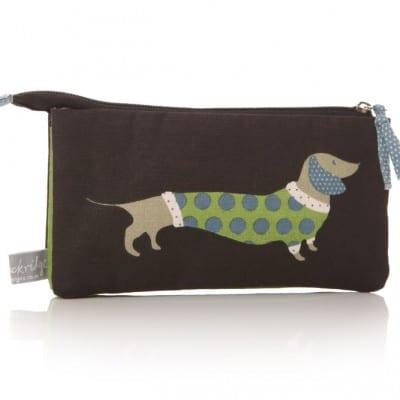 Lisa Buckridge Hot Dog double zip cosmetic purse black