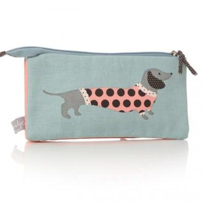 Lisa Buckridge Hot Dog double zip cosmetic purse blue