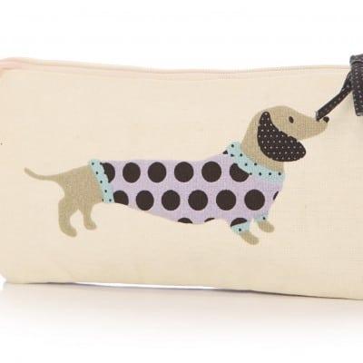 Lisa Buckridge Hot Dog double zip cosmetic purse cream