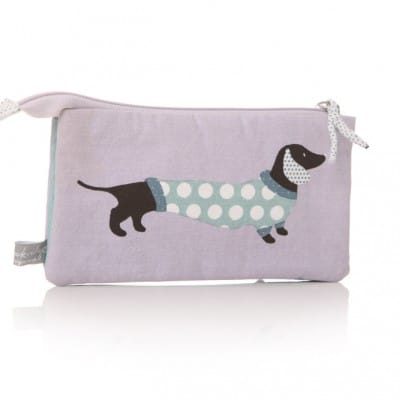 Lisa Buckridge Hot Dog double zip cosmetic purse lilac