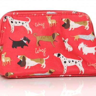 Lisa Buckridge Walkies oilcloth cosmetic purse red
