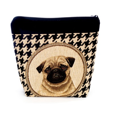 Handmade tapestry cosmetic purse Pug
