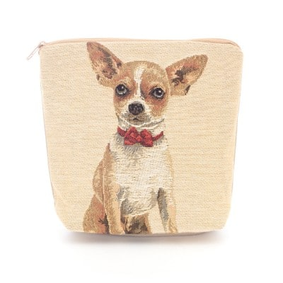 tapestry cosmetic purse chihuahua