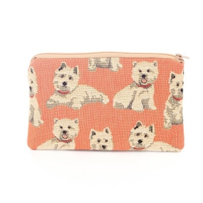 tapestry flat cosmetic purse Westie