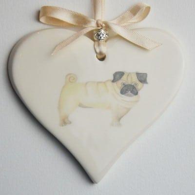 Dimbleby Ceramics ceramic heart Pug