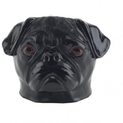 Quail Ceramics black Pug face egg cup