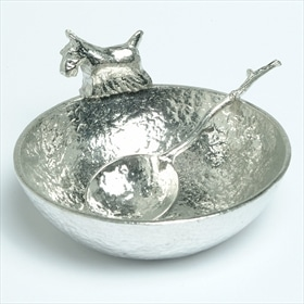 Scottie dog and twig bowl and spoon