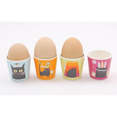 Jane Ormes Thinking Cats set of 4 egg cups