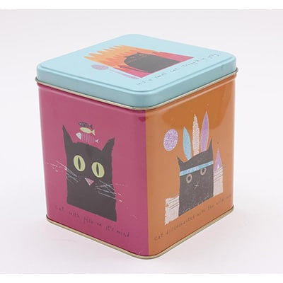 Jane Ormes Thinking Cats square storage tin