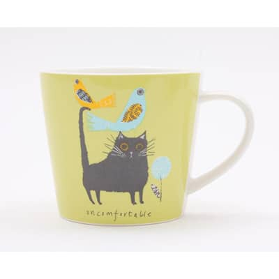 Jane Ormes Uncomfortable Cat mug