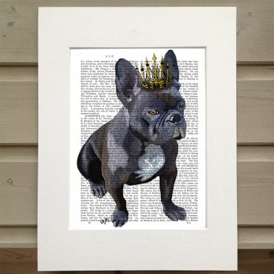 Fab Funky French Bulldog king antiquarian book print