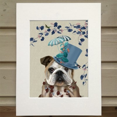 Fab Funky The Milliners Dog Bulldog print