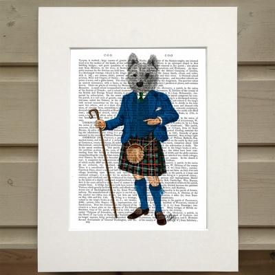 Fab Funky West Highland White Terrier in kilt antiquarian book print