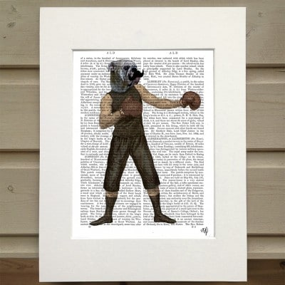 Fab Funky boxing Bulldog antiquarian book print