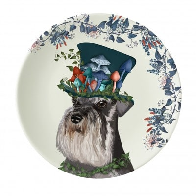 Fab Funky The Milliners Dog Schnauzer 8inch plate