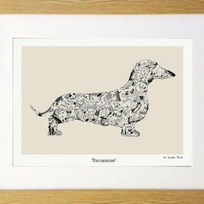 Dachshund Print in Oak Frame