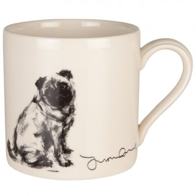 Justine Osborne Fine Art mug pug sitting
