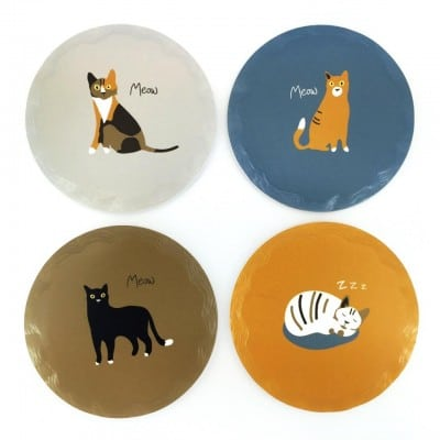 MEOW! RSPCA cat ceramic coasters set of 4