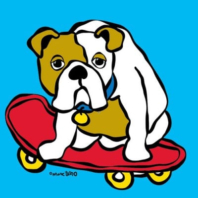 Marc Tetro Bulldog on a Skateboard Print