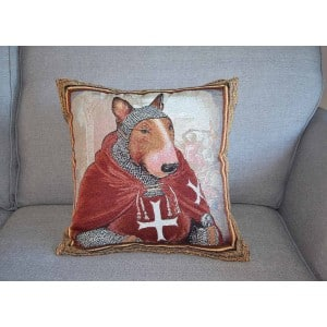 Bull Terrier Hospitaller Knight tapestry cushion