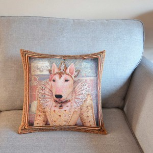 Bull Terrier Queen Elizabeth I tapestry cushion