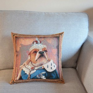Bulldog Queen Victoria tapestry cushion