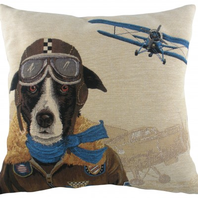 LC043 - 18' Dog Fighters Blue Cushion