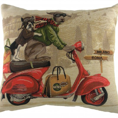 LC211 - 18' Scooter Dogs Red Cushion