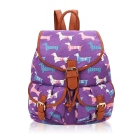 Sausage dog retro rucksack purple