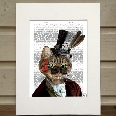 Fab Funky Phileas Feline steampunk cat in top hat antiquarian print
