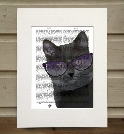 Fab Funky black cat in spectacles antiquarian print