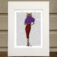 Fab Funky cat in a red dress antiquarian print