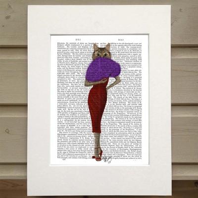 Fab Funky cat in a red dress antiquarian print