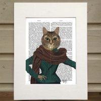 Fab Funky fashionista cat antiquarian print
