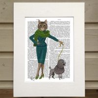 Fab Funky cat with poodle antiquarian book print