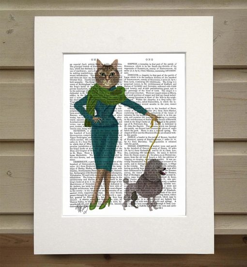 Fab Funky fashionista cat with poodle antiquarian print