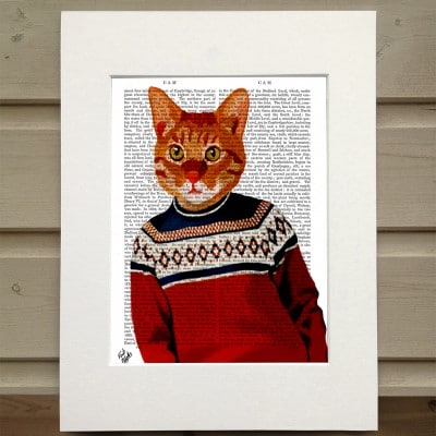 Fab Funky ginger cat in red sweater antiquarian print