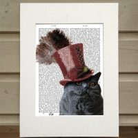 Fab Funky grey steampunk cat in top hat antiquarian print
